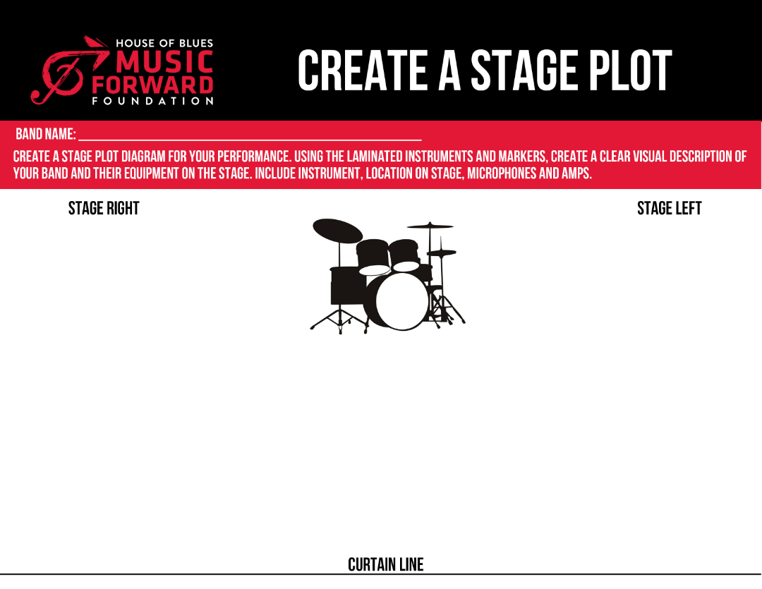Create a stage plot house of blues music forward foundation for Stage plot template